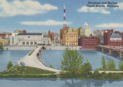Riverfront and Skyline, Grand Rapids, MI - circa 1950