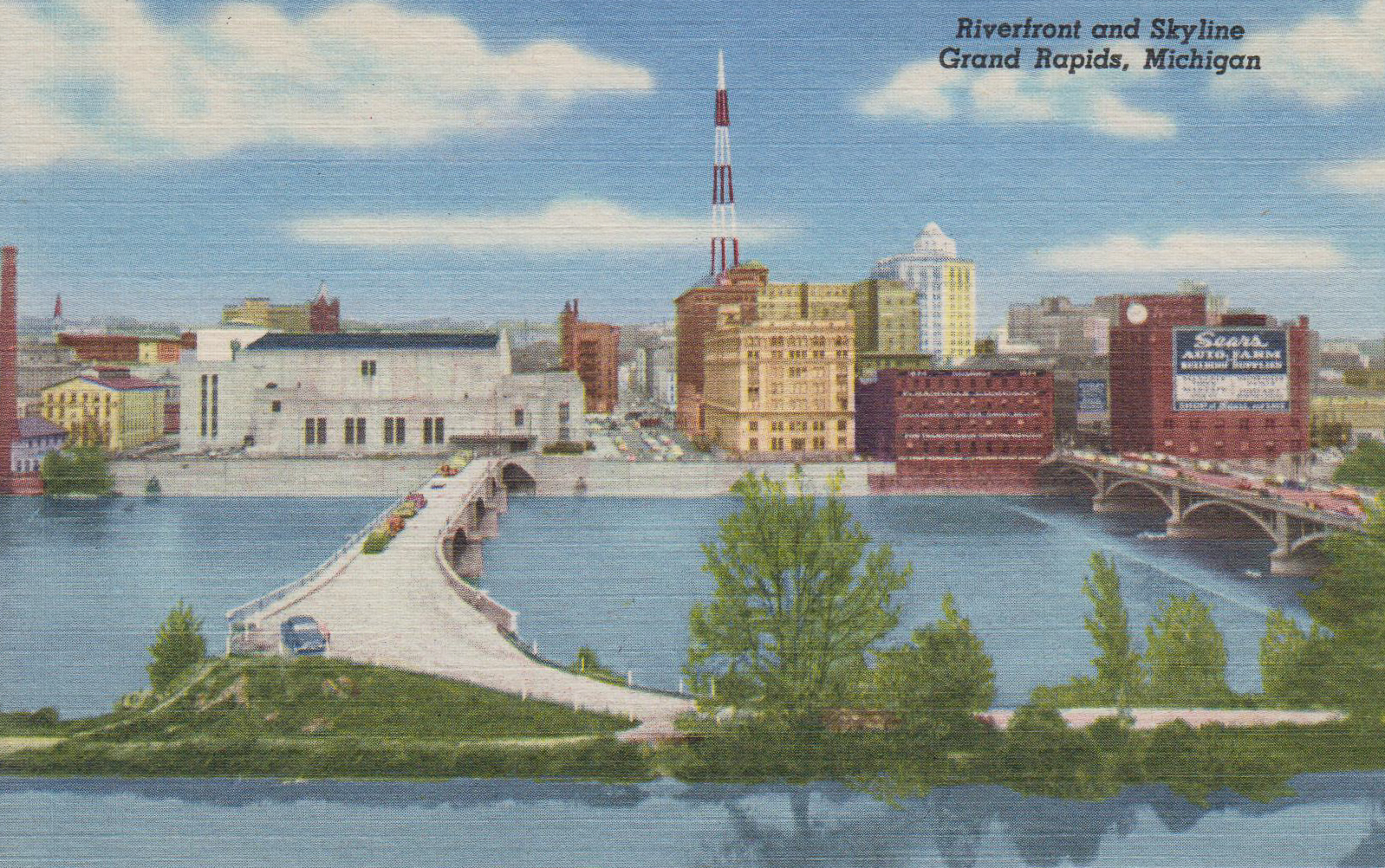 Riverfront and Skyline, Grand Rapids, MI – circa 1950