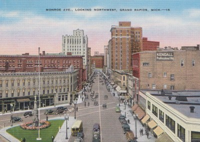 Monroe Ave, Looking Northwest, Grand Rapids, MI - circa 1940