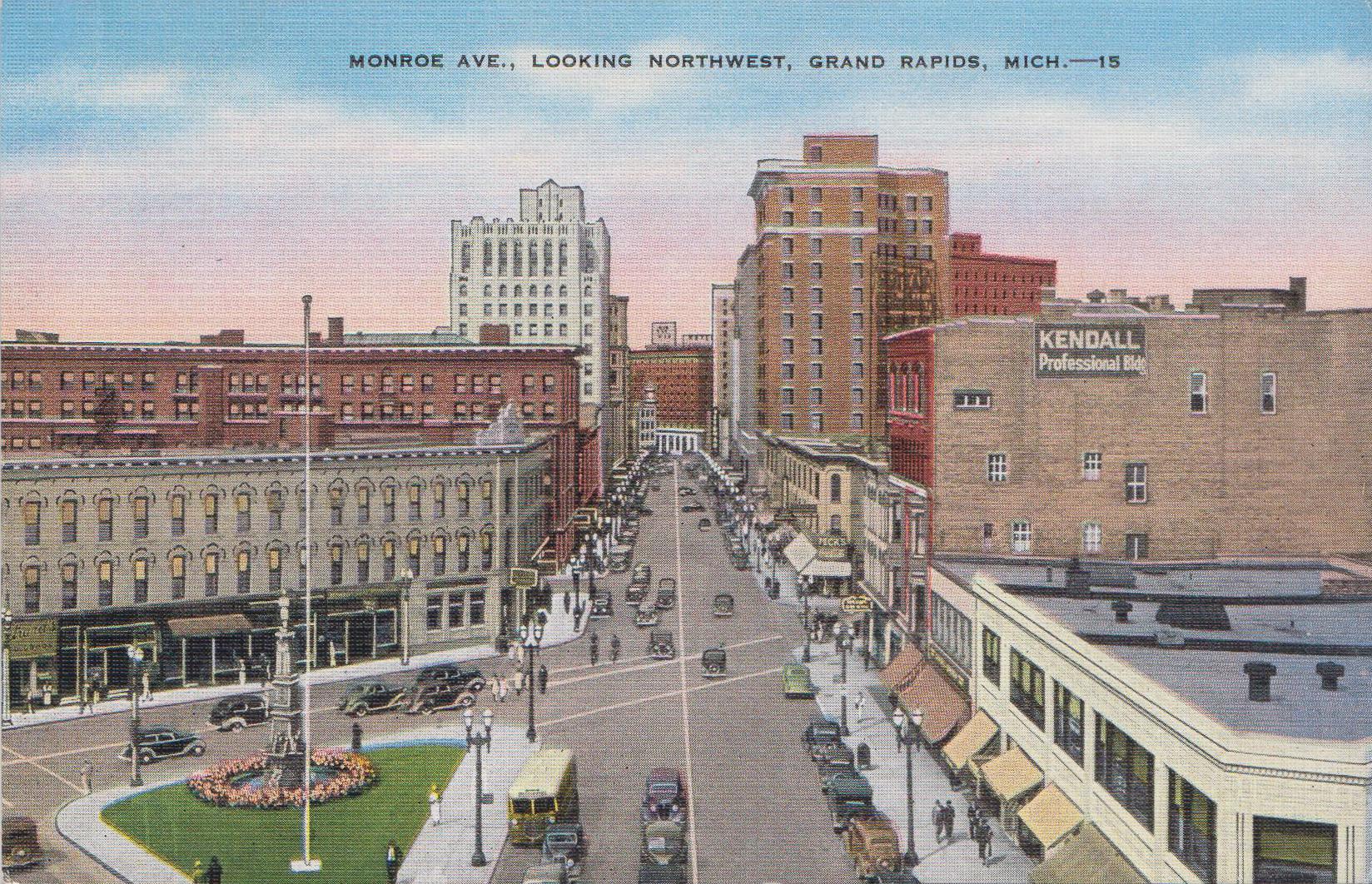 Monroe Ave. Looking Northwest, Grand Rapids, MI - circa 1940